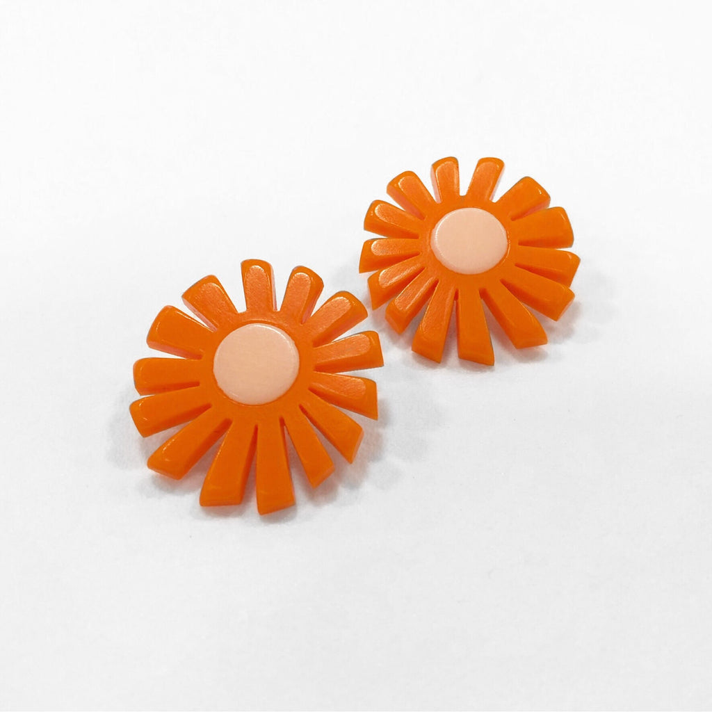 sunburst earrings orange by woll jewelry