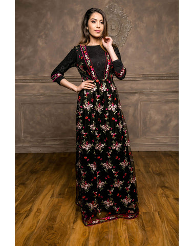 Black Embroidery Maxi Dress