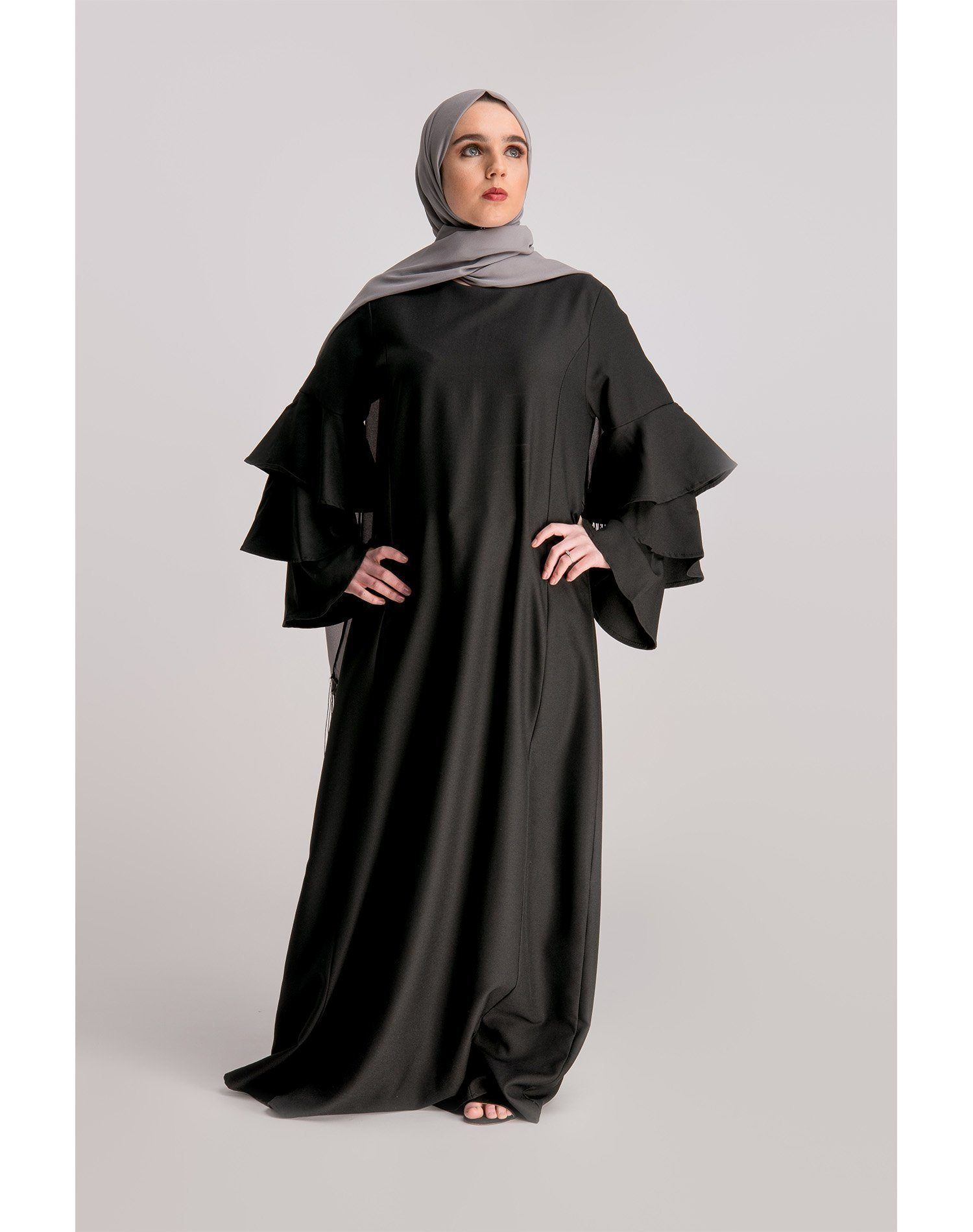 Black Frilled Sleeve Abaya