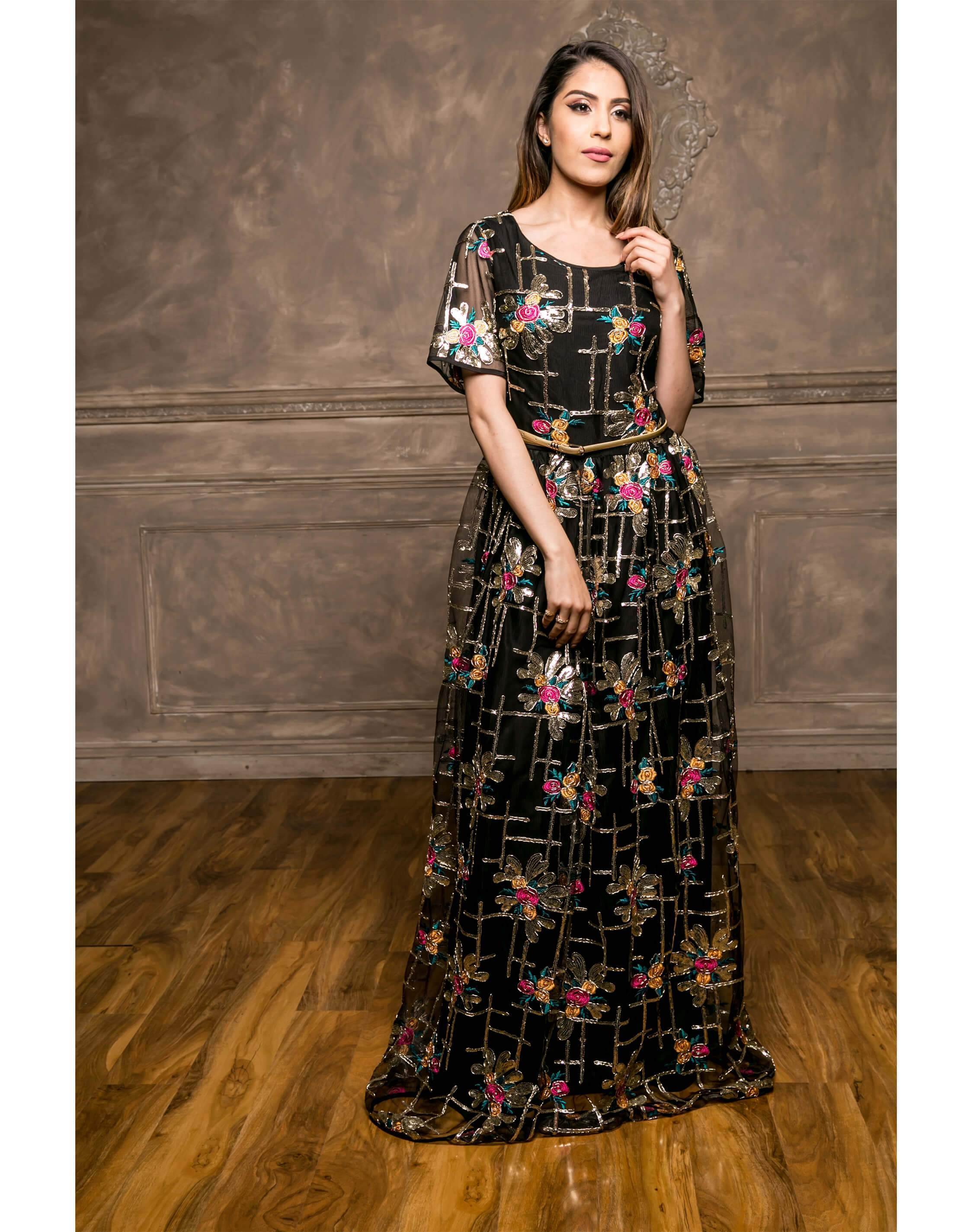 Floral Embellish Maxi Dress (Black)