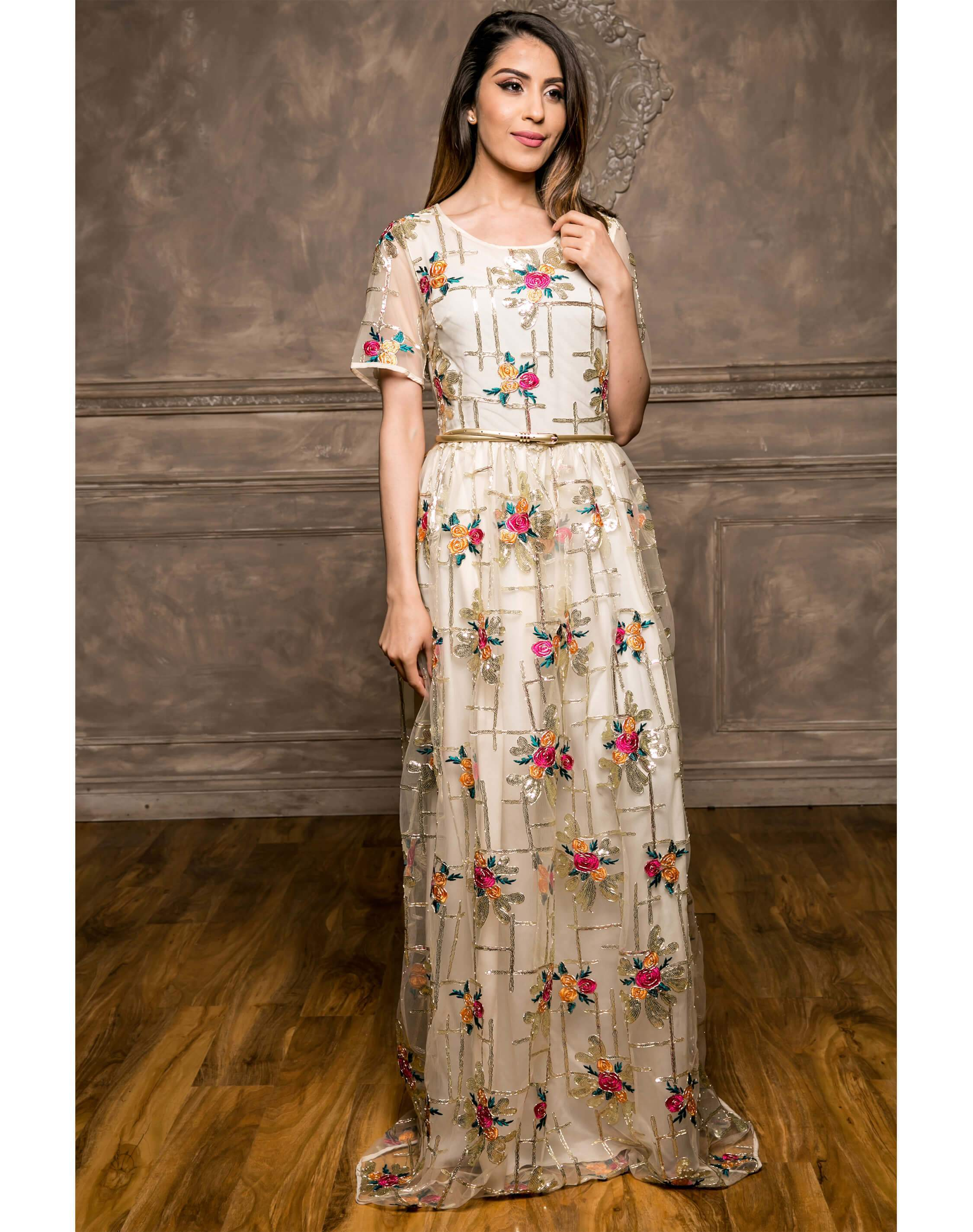 Floral Embellish Maxi Dress (Cream)