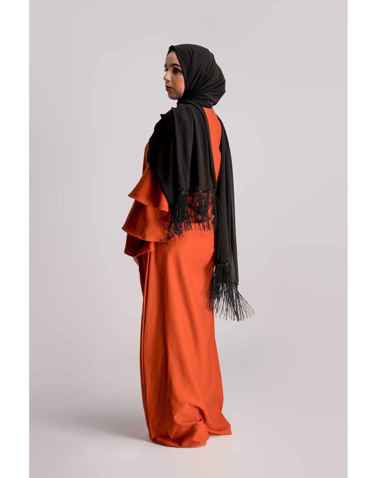 Orange Frilled Sleeve Abaya