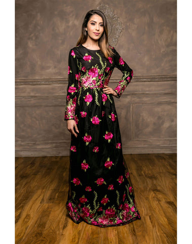 Pink Floral Embroidery Maxi Dress