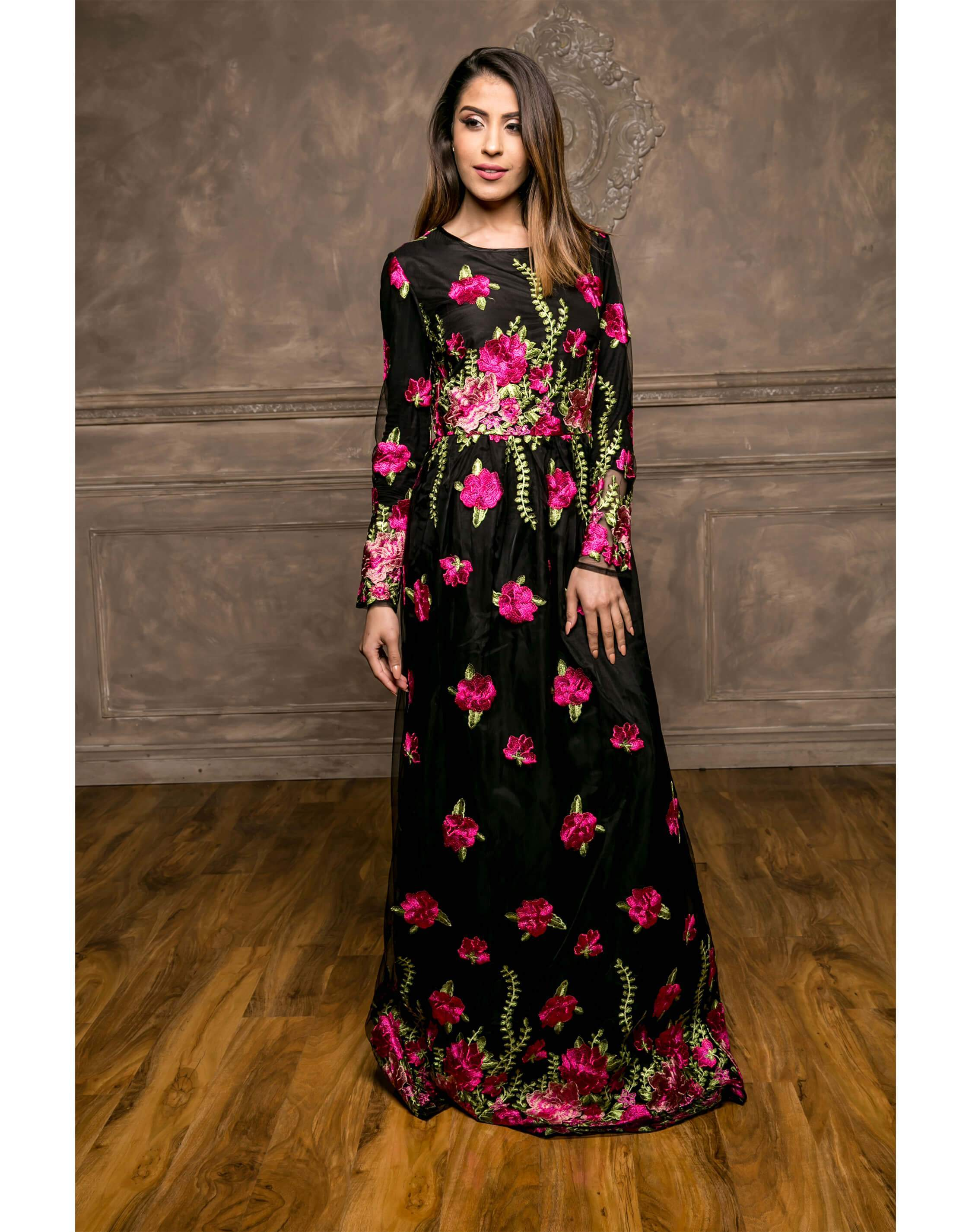 ... Pink Floral Embroidery Maxi Dress ...