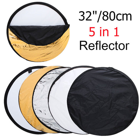 "32"" 80cm 5-in-1 Collapsible Light Round Photo Reflector"