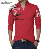 New Fashion Brand Trend Print Slim Fit Long Sleeve T Shirt