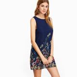 Trendy A-line Navy Buttoned Keyhole Back Flower Prints Dress