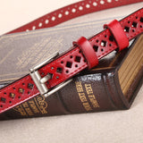 Genuine leather pin buckle vintage style Women belts