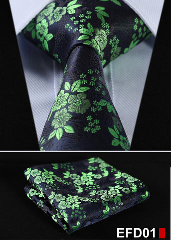 "Floral Stripe 3.4"" Silk Wedding Jacquard Men Tie Necktie Pocket"
