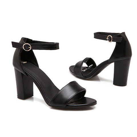 Meotina Open Toe Ankle Strap Chunky High Heels