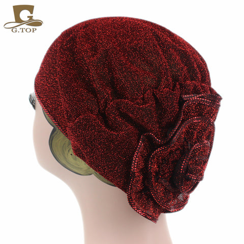 Women metallic  flower Beanie/ Bonnet Islamic Turban
