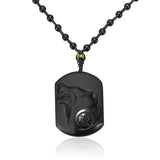 Black Obsidian Wolf Head Carving Amulet Necklace