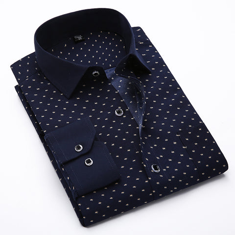 Fashion Men Long Sleeve Polka Dots Cotton