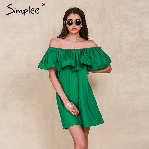 Summer style off shoulder Ruffles slash neck women dress