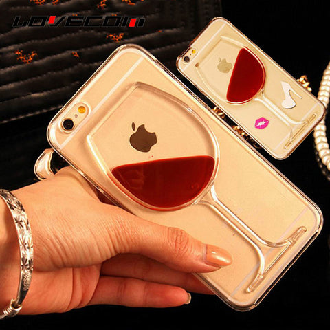 Transparent Red Wine Phone Case For iPhone