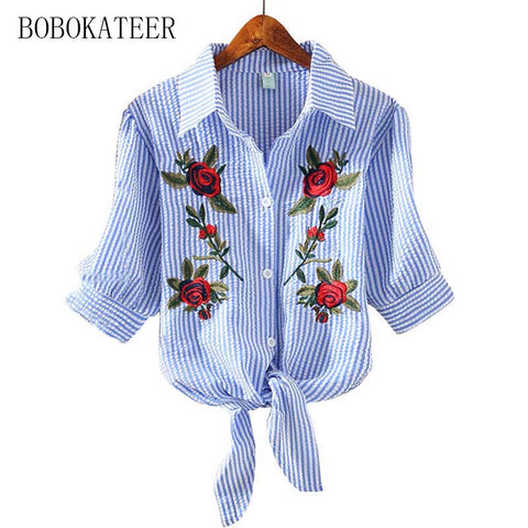 BOBOKATEER Brand Embroidery blouse for HER