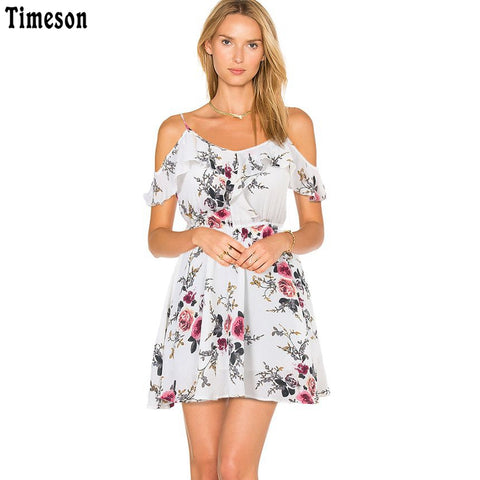 Summer Collection Floral Print Off shoulder Women Dresses