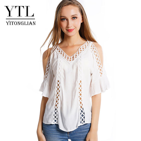 Women Summer Off Shoulder White Tunics Ladies Top Blouse