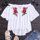 Women Floral Embroidery Off Shoulder Loose White Tops