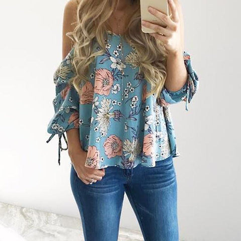 Women Floral Spaghetti Strap Cold Shoulder Blouse