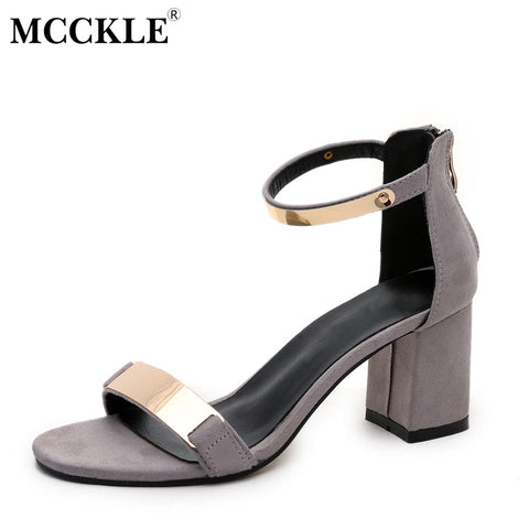 MCCKLE Female Zip Ankle Sequined Glitter High Heels