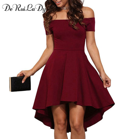 Elegant Casual Women Summer  Off Shoulder Party Dresses