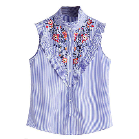 Sleeveless Summer Embroidered Tops