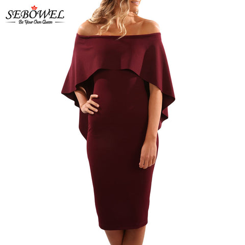 Summer  Women Bat wing Cape Off Shoulder Party Dress