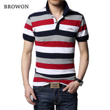 Men Stripe Lapel Slim Fit  Casual Tees