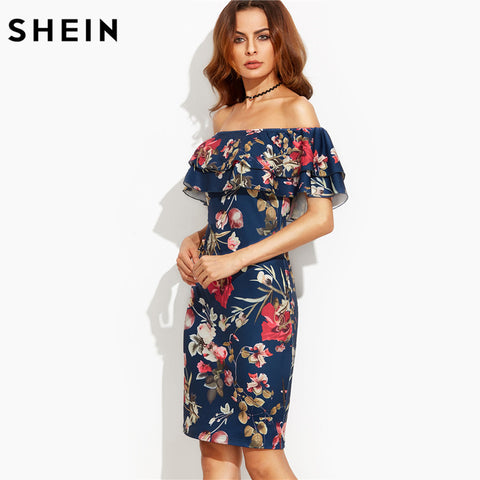 Summer Floral Print Off  Shoulder Ruffle Dress