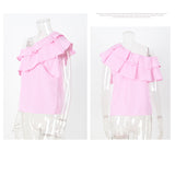 Women Spring Collection One Shoulder Ruffles Blouse