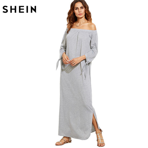 Summer Heather Grey Off The Shoulder/long sleeve Maxi Dress
