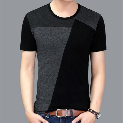 Men Short Sleeve Patchwork Slim Fit