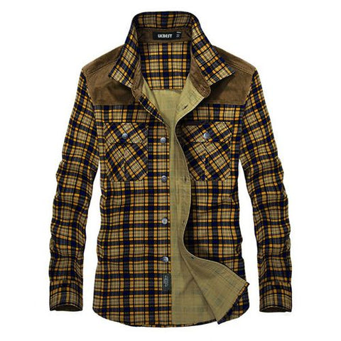 LKBEST Brand Men's Plaid Cotton Casual Shirts Office Long Sleeve