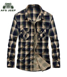 New AFS JEEP Brand Shirt Plaid Shirts Casual Men