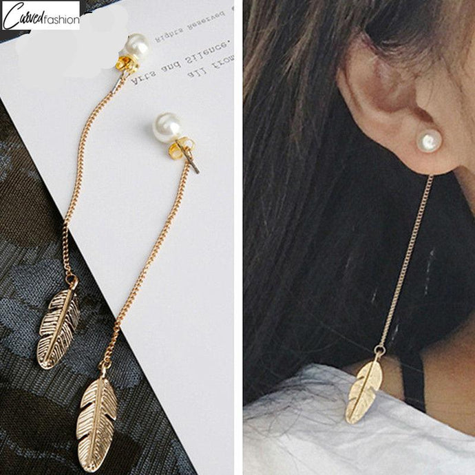 Long Tassel Feather Earrings