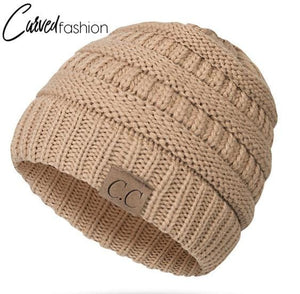 Knitted Beany With Top Opening for Hair