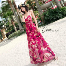 Gentle Red Floral Beach Summer Maxi Dress