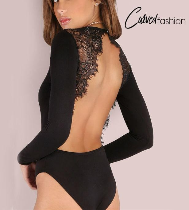 Backless Lace Long Sleeve Bodysuit