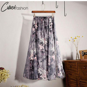 Bohemian Flow High Waist Long Skirt