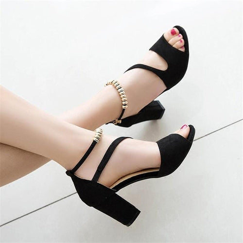 Beaded ankle strap semi high heels