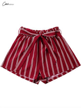 Elastic Bowknot Belt Wide Striped Shorts