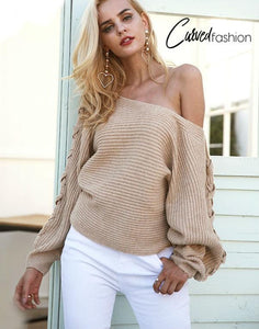 One Shoulder Loose Knitted Sweater