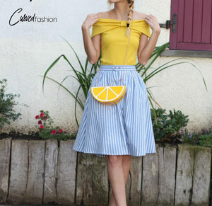 Blue Stripes Casual Knee-Length Skirt with Buttons