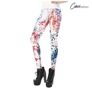 White Collage Leggings