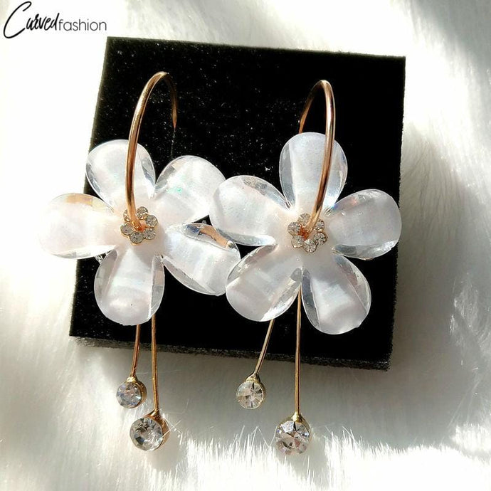 5 Petal Flower Earrings with Zircon Tassel