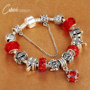 Silver Plated Crystals Charm Bracelet