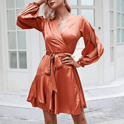 Elegant Ruffles V neck Dress with High waist