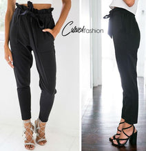 Casual Elastic High Waist Pants with Lace