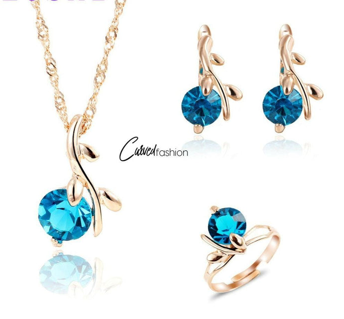 Leaf & Blue Crystal Necklace Earrings and Ring Set